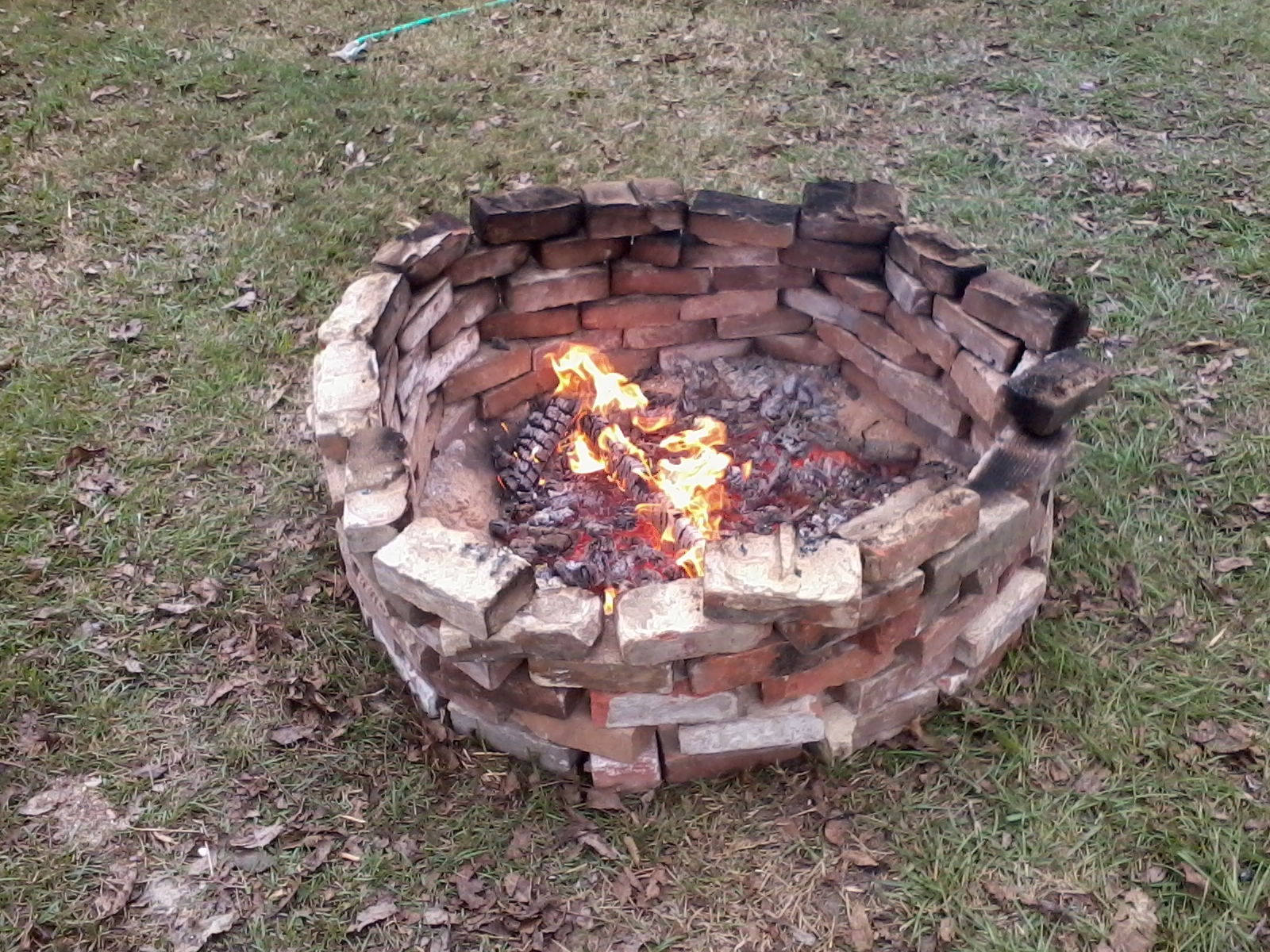 Mortar Fire Pit : Honeysuckle homestead vine clings to the